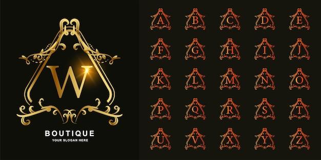 Litera w lub kolekcja początkowy alfabet z luksusowym ornamentem kwiatowy rama złoty szablon logo.