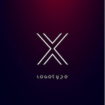Litera w stylu futuryzmu x minimalistyczny typ dla nowoczesnego futurystycznego logo elegancki monogram cyber tech