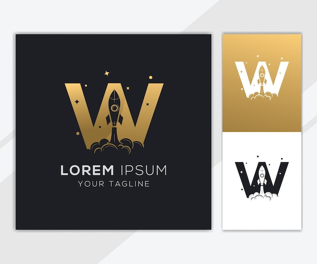 Litera w z luksusowym szablonem logo streszczenie rakiety
