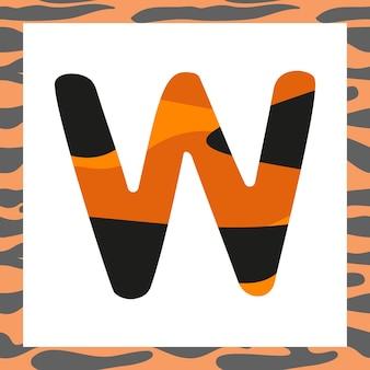 Litera w z motywem tygrysa świąteczna czcionka i ramka z pomarańczy w czarne paski symbol alfabetu...
