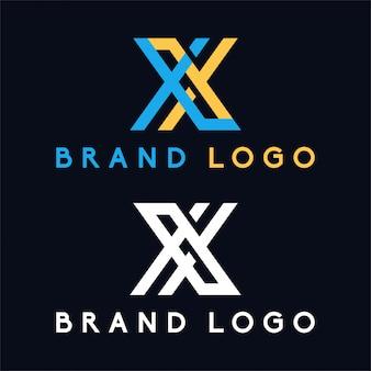 Litera x i litera xl minimalis logo w kolorze niebieskim i żółtym