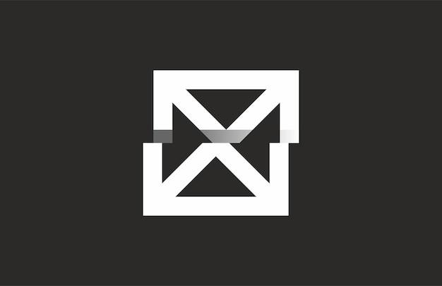 Litera x kwadrat 3d ambigram logo