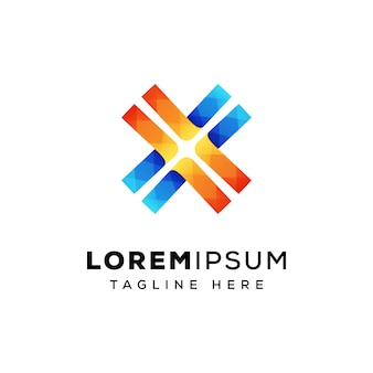 Litera x linia logo projekt premium wektor