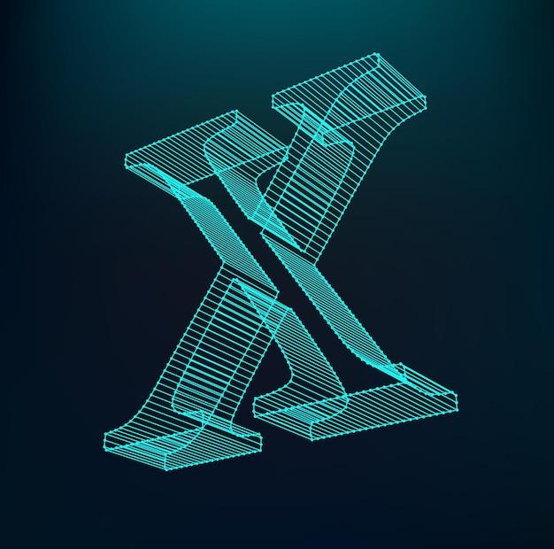 Litera x. litera wielokątna. model low poly. siatka trójwymiarowa. charakter oczek objętości.