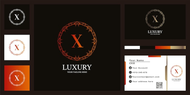 Litera x luksusowy ornament kwiat rama logo szablon projektu z wizytówki.