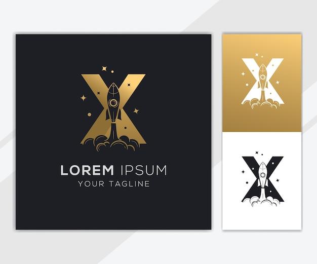 Litera x z luksusowym szablonem logo streszczenie rakiety
