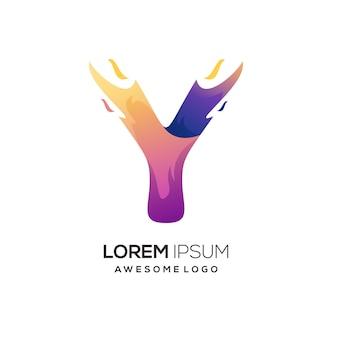 Litera y z ognistą kolorową ilustracją gradientową logo