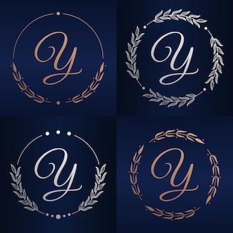 Litera y z szablonu logo kwiatowy ramki