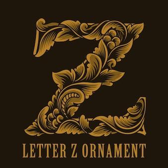 Litera z logo w stylu vintage ornament