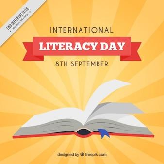 Literacy dzień tła z otwartej książki