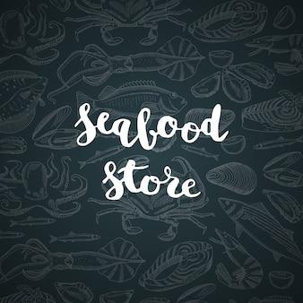 Liternictwo ze sklepem z owocami morza lub rynkiem do ilustracji menu