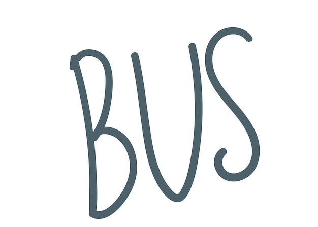 Literowanie autobus ręcznie rysunek wektor ilustracja ręcznie napis