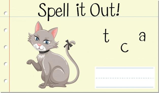 Literuj angielskie słowo cat