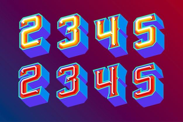 Litery 3d w stylu vintage z fluorescencyjnymi neonami i trybem włączania / wyłączania