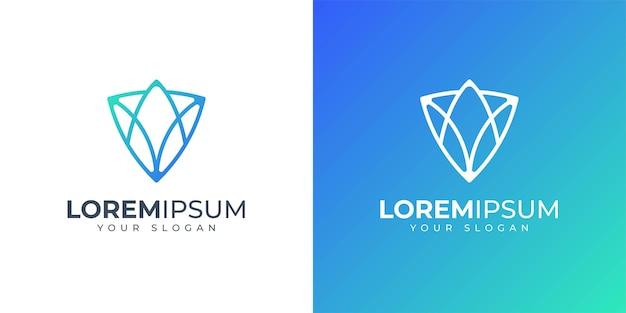Litery a i v z inspiracją do projektowania logo koncepcji tarczy