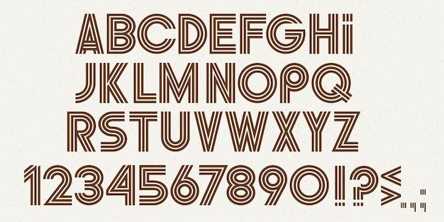 Litery alfabetu, cyfry i znaki interpunkcyjne, stylowa nowoczesna czcionka. zestaw abc