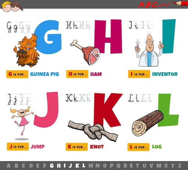 Litery alfabetu edukacyjnych kreskówek dla dzieci