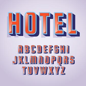 "Litery alfabetu i słowo ""hotel"" 3d efekt retro"
