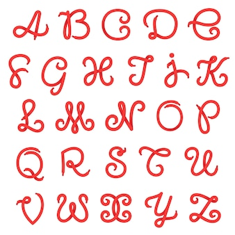 Litery alfabetu koronki butów.