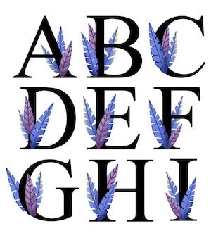 Litery alfabetu projekt a - i z ręcznie rysowaną niebieską fioletową dekoracją liści
