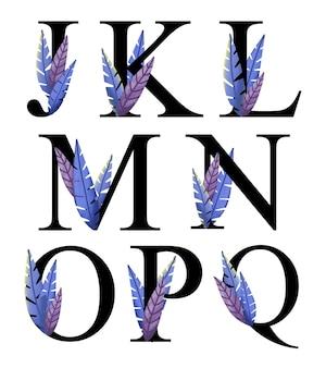 Litery alfabetu projekt j - q z ręcznie rysowaną niebieską fioletową dekoracją liści