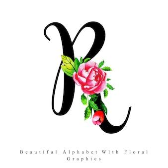 Litery alfabetu r akwarela kwiatowy tło