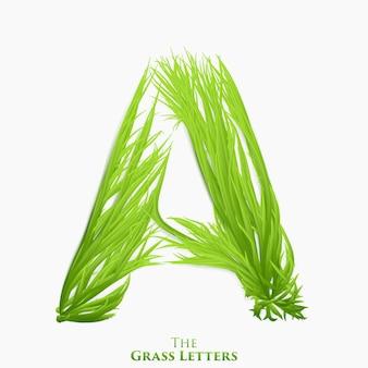 Litery alfabetu soczystej trawy. zielony symbol składający się z rosnącej trawy.