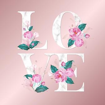 """Litery alfabetu z akwarela kwiaty na tle różowego złota. piękny projekt typografii """"miłość"""""""