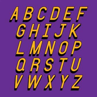 Litery alfabetu z efektem izometrycznym 3d