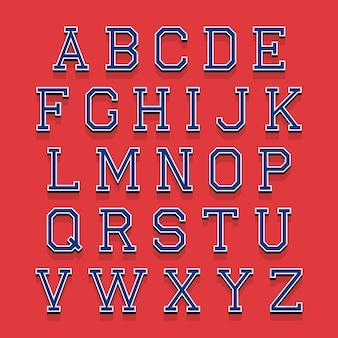 Litery alfabetu z efektem izometrycznym 3d.