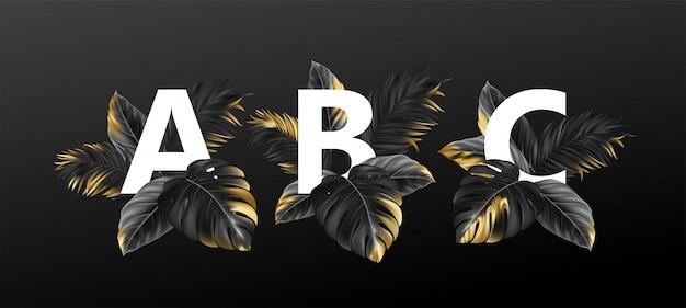 Litery alfabetu z egzotycznymi tropikalnymi liśćmi roślin.