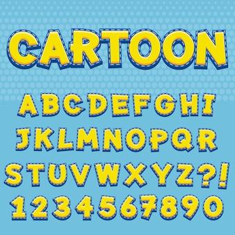 Litery alfabetu z numery stylu cartoon design
