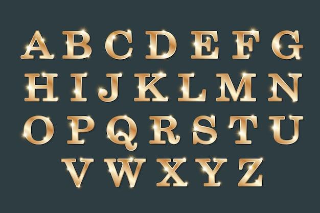 Litery alfabetyczne w złotym stylu