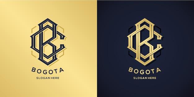 Litery b i c logo styl dekoracyjny