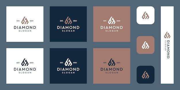 Litery b i m monogram logo z abstrakcyjnymi kształtami diamentów premium wektorów