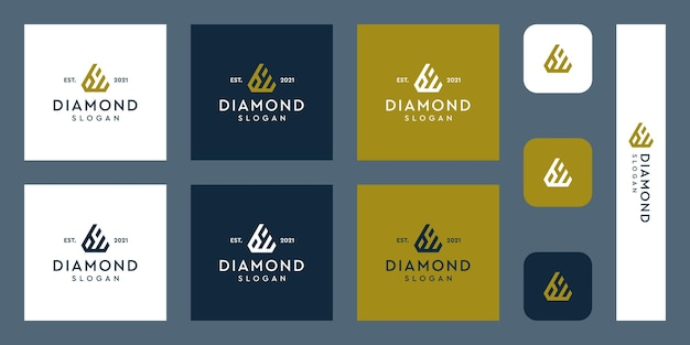 Litery b i w monogram logo z abstrakcyjnymi kształtami diamentów premium wektorów