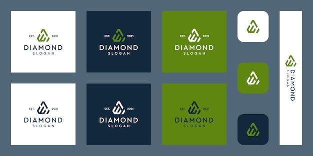Litery e logo monogram z abstrakcyjnymi kształtami diamentów premium wektorów