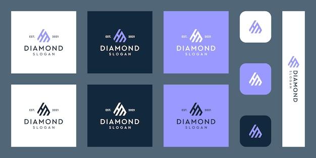 Litery h i m monogram logo z abstrakcyjnymi kształtami diamentów premium wektorów