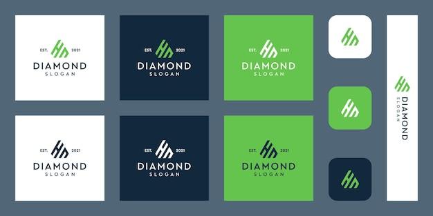 Litery h i n logo monogram z abstrakcyjnymi kształtami diamentów premium wektorów