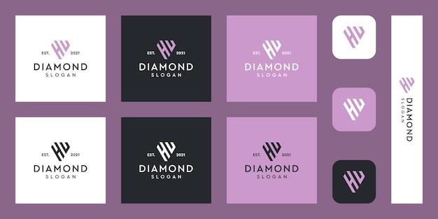 Litery h i u monogram logo z abstrakcyjnymi kształtami diamentów premium wektorów