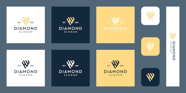 Litery h i w logo monogram z abstrakcyjnymi kształtami diamentów premium wektorów