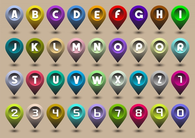 Litery i cyfry alfabetu w postaci ikon gps