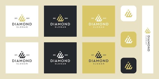 Litery i oraz w logo monogram z abstrakcyjnymi kształtami diamentów premium wektorów
