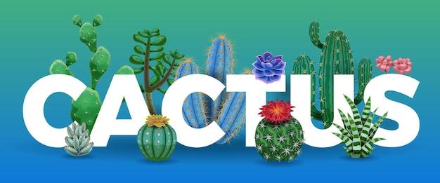 Litery kaktusów otoczone ilustracją roślin