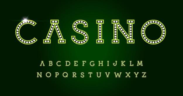 Litery kasyna na zielonym tle. zielony luksus styl wektor alfabet łaciński. czcionka do wydarzeń, biznesu internetowego, promocji, logo, banera, monogramu i plakatu. projekt typografii.