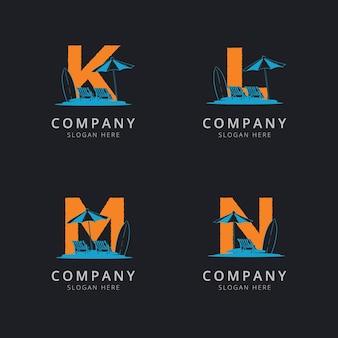 Litery klm i n z szablonem logo streszczenie plaży