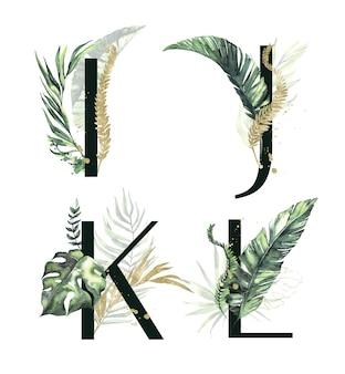 Litery kolekcji alfabetu tropikalnego ijkl