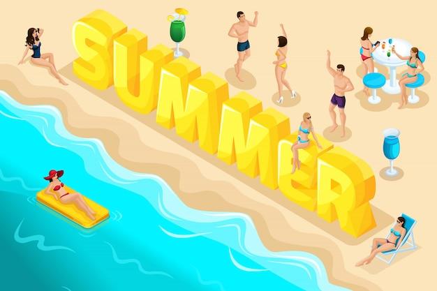 Litery lato, czcionka, ludzie, postacie, relaks w kurorcie, wakacje, wycieczka nad morze, surfowanie po morzu, plaża, oparzenia słoneczne, dziewczyny w strojach kąpielowych. jasne lato