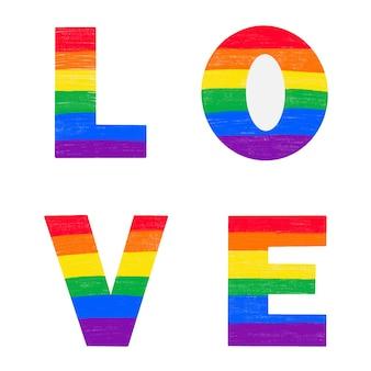 Litery love pokolorowane w tęczowych kolorach flagi dumy gejowskiej lgbtq. wektor napis na miesiąc historii lgbt kredka ołówkowa teksturowanej na białym tle. miłość jest koncepcją miłości
