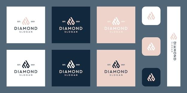 Litery m i d logo monogram z abstrakcyjnymi kształtami diamentów premium wektorów